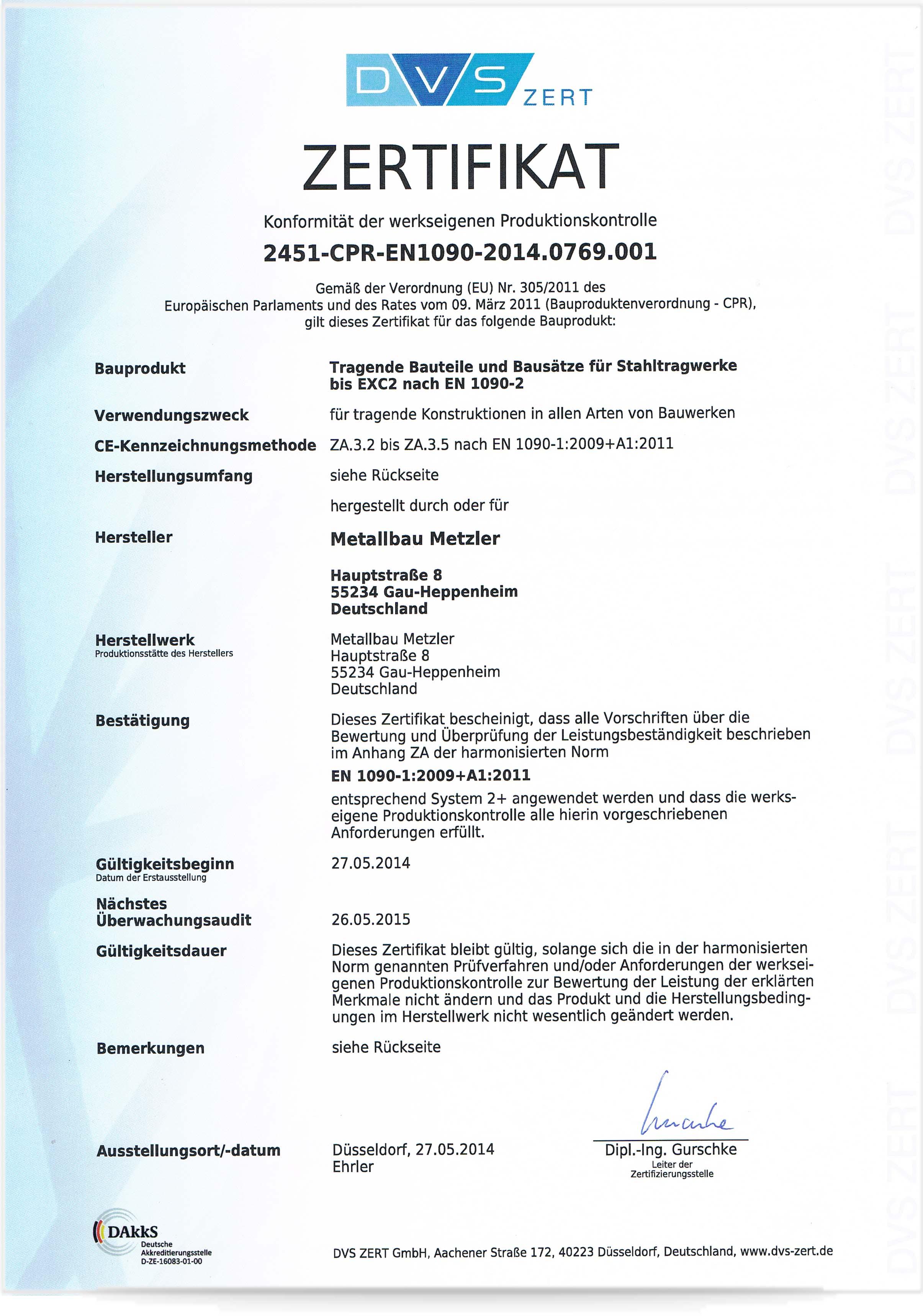 Zertifizierung DIN1090